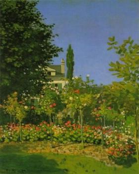 tableau de Monet avec jardin de fleurs / Monet painting with flowers